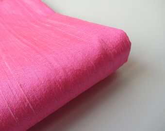 Flamingo pink raw silk wedding bridal peace shantung silk fabric number 762  - 1/4 yard | fat quarter