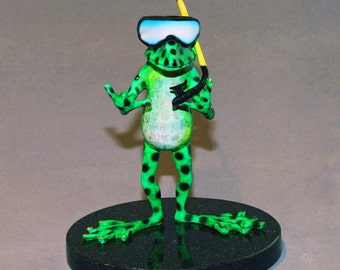 """Bronze Frog """"Snorkeler"""" Figurine Statue Sculpture Amphibian Art / Limited Edition / Signed & Numbered / AWESOME"""