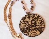 Rose Quartz Necklace, Lucite, Multi Colour, Vintage Jewelry, Gift for Her VALENTINE SALE