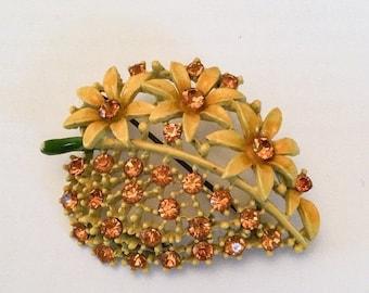 CHRISTMAS Holiday Sale, Enamel Rhinestone Brooch Flower Brooch Retro Vintage Jewelry, Gift for Her