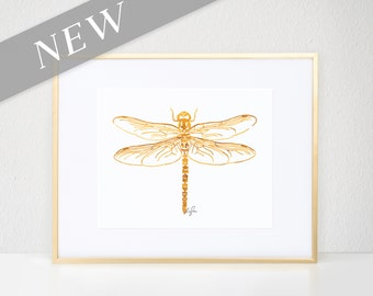 Dragonfly Print, Gold Bug Illustration - Fashion Wall Art Watercolor Painting, Dragonfly