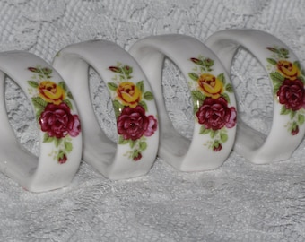 Bone China Napkin Rings Set of 4 Country Rose Oval