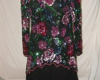 Sequin Beaded Dress Multi Color Floral  Black Drop Waist Asymmetrical Vintage Para Evening Wedding