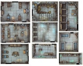 Compilation Rooms Pack Expansion 1 - Print and Play Dungeon - for Dungeons and Dragons, Pathfinder, Warhammer Quest, and more!