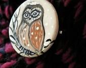 Valentines day gift ,ceramic winter owl brooch ,lovely gift for her.
