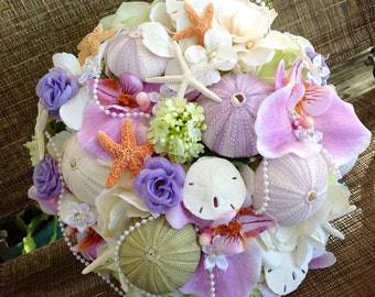 Beach Wedding Sea Urchin and Sugar Starfish Bridal Bouquet with Pearls Sand Dollars Diamonds Your Choice of Colors