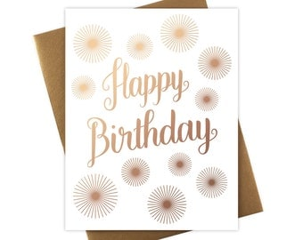 Happy Birthday Pom Poms Card with Rose Gold Foil