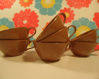 Vintage Brown Melmac Tea Cups Set Of 7 Lenotex