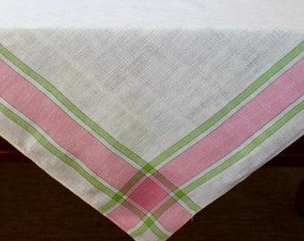 Vintage Linen Tablecloth Plaid Pink Green White Square Checks Picnic