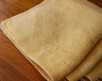 Vintage Napkins Linen Damask Lunch Dinner 4 Autumn Gold Yellow Hemstitched Openweave