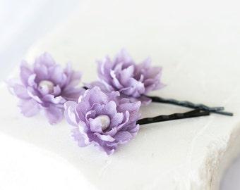 717_Lilac floral hair pins, Purple wedding flowers, Flowers in hair, Hair accessories for bridesmaid, Lilac wedding, Flowers hair pins.