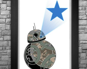 "BB-8 ""U.S. Army"" inspired limited edition art print. Available in 3 sizes!"