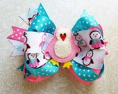 Pink and sky blue penguin  bow.  Christmas bow.  Church bow. Winter gifts.  Birthday girl.