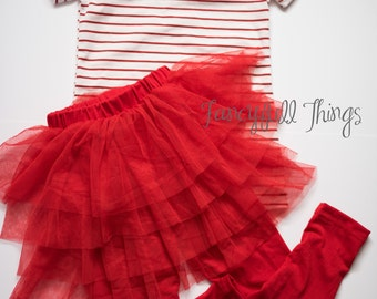 Red striped bow tutu outfit