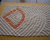 Peach and White Cabin Crafts Vintage Chenille Bedspread Fabric 18x24