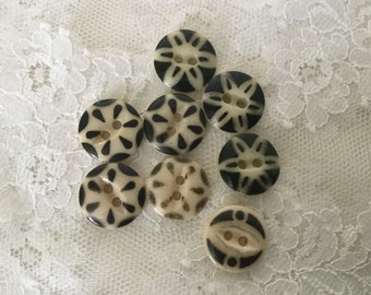Vintage China Stencil Buttons,Antique China Buttons,lot of eight