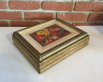 Vintage/Antique Wood Carved Jewelry Box,Old Jewelry Box,Gold Gilt Box,Floral,Glass Top
