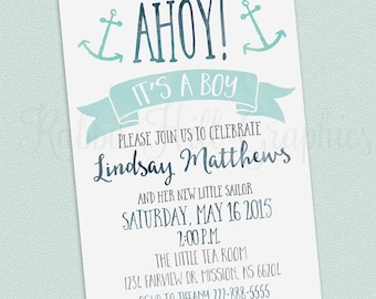 Nautical Baby Shower Invitation, Ahoy it's a boy, Printable Shower Invitation, Baby Boy, Blue, Turquoise 5x7 inch