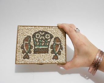 Wooden Keepsake Box / Beach Wedding Box / Wood Box Hinged Lid / Ring Jewelry Box / Hawaiian Mosaic Trinket Box / Treasure Box / Stash Box