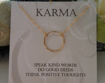 KARMA Necklace, Gold Eternity Necklace, Gift for Best Friend, Gold or Silver Karma Necklaces, Hammered Circle, Good Karma, Keep Positive