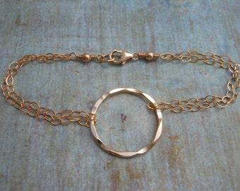 Gold KARMA Bracelet,Eternity Bracelet,Friendship Bracelet,Double Strand Gold Bracelet, Gifts for Best Friends,Gold Circle Bracelet