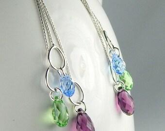 Swarovski Crystal Earrings, Crystal Dangle Earrings, Sterling Silver Earrings Purple Blue Green Gift For Wife