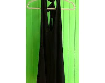 Vintage Paco Rabanne Short Black Rhinestone Halter Backless Disco Plunging Neckline Dress 1980s 1970s
