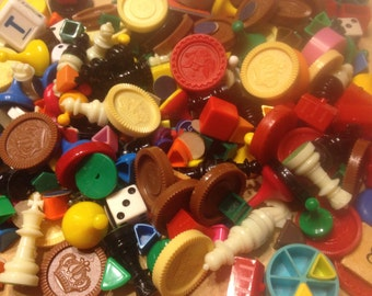 One Pound Vintage Game Pieces, Crafting and Assemblage Supplies-Game Pieces