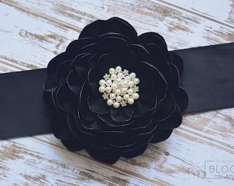 Black Wedding, Bridal Sash Belt, Silk Flower Belt, Dress, Flower Girl, Bridesmaid, Belt and Sashes, Flower Black Belt, Hair Accessories