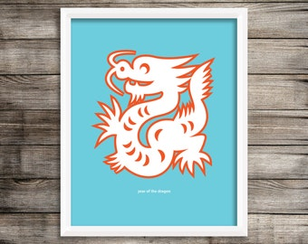 Year of the Dragon Modern Home Decor Wall Art  8X10 ~ Digital Download.