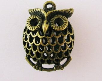 Large Antique Bronze Owl Pendant Charm Hollow Filigree