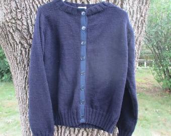Vintage Wool Sweater Navy Blue Handmaden Ladies