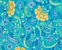 The Painted Garden by Dena Designs for Free Spirit - PWDF139 - Blossom - Aqua Blue - Fat Quarter - FQ - Cotton Quilt Fabric