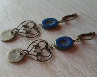 Blue picassos with brass dangles