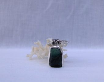 Raw, Rough Cut Emerald, Ombre Emerald, Sterling Silver Emerald Gemstone Charm Ring, Genuine Emerald Gemstone Ring, Rough Emerald Jewelry
