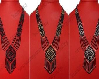 Traditional Ukrainian Folk Handmade Glass Beaded NECKLACE Long Gerdan.
