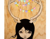 "Antler Girl ""Annie""  - Art print big eyed girl with bunting in antlers - original illustration - archival quality print"