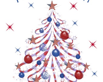 Christmas card, patriotic, red white and blue, Americana Christmas card, ornaments, Christmas Tree, USA, you print, digital file