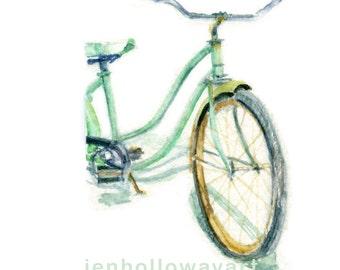 Watercolor Beach Cruiser, Beach Cruiser Print, Bike Print, Bike Art, Beach Bike Print