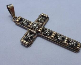 Antique Marcasite and Vermeil Gold Plated Silver Cross Pendant 835 Art Deco