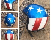 VINTAGE 1970s Red, White & Blue Motorcycle HELMET - Glitter Bomb Helmet - Stars and Stripes Helmet - Easy Rider