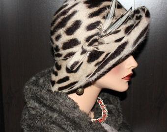 Retro Hat - beaver fur felt - zebra (black/white stripes)