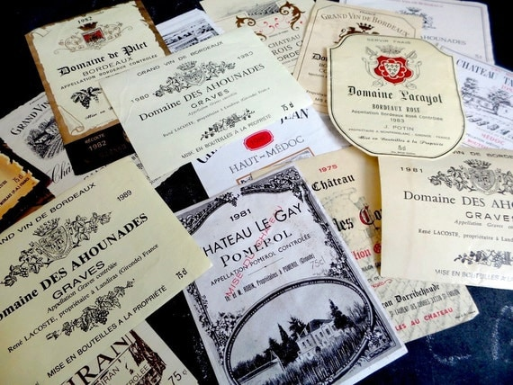 20 Vintage French Wine Labels Not Reprints.Instant