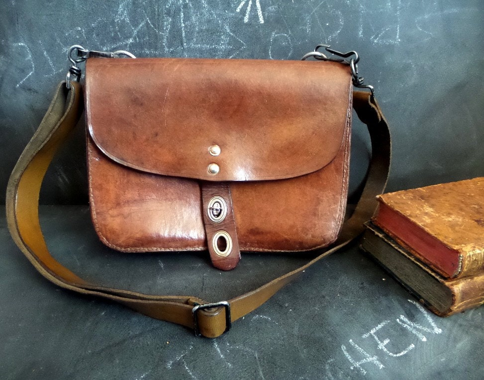 Antique French Brown Leather Bag.Postman Satchel. Mail Carrier