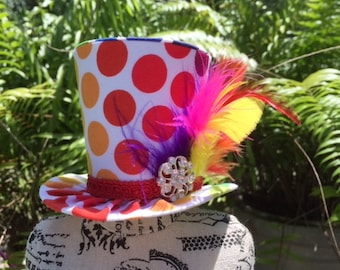 Rainbow Polka Dot Mad Hatter Mini Top Hat for Dress Up, Birthday, Tea Party or Photo Prop