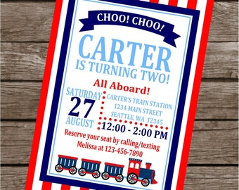 VINTAGE TRAIN Choo Choo Happy Birthday or Baby Shower Invitations Set of 12 {1 Dozen}