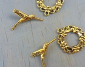 Hummingbird Bird toggle clasp jewelry making set of two Antique Gold Brass