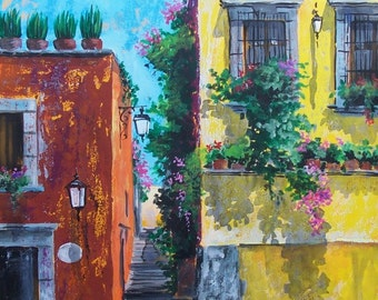 """Original painting of street corner in San Miguel de Allende Mexico Colonial architecture art wall acrylic on paper  19.5""""x 25.5"""""""
