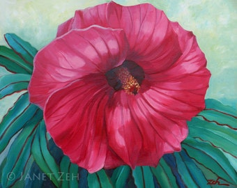 Hibiscus Red Flower Painting Original Oil on Canvas 16x20 Wall Art by Janet Zeh