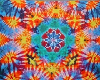 Tie Dye Tapestry ~ 2014 023 050 ~ 8 Point Mandala with sunburst ~ wide ~ 28X72